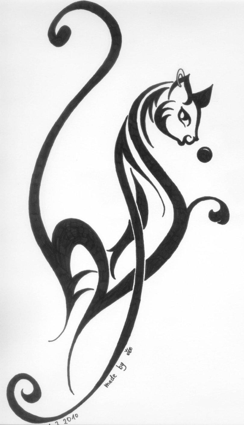 Fantastic Black Color Ink Cat Tattoo Design For Girls