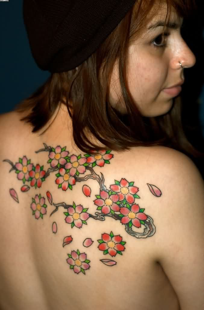 Fantastic Blossom Plant Tattoos For Women On Back Shoulder