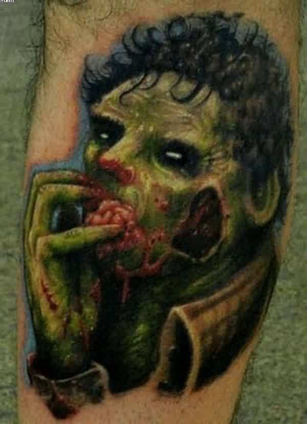 Fantastic One More Zombie Tattoo With Green Ink