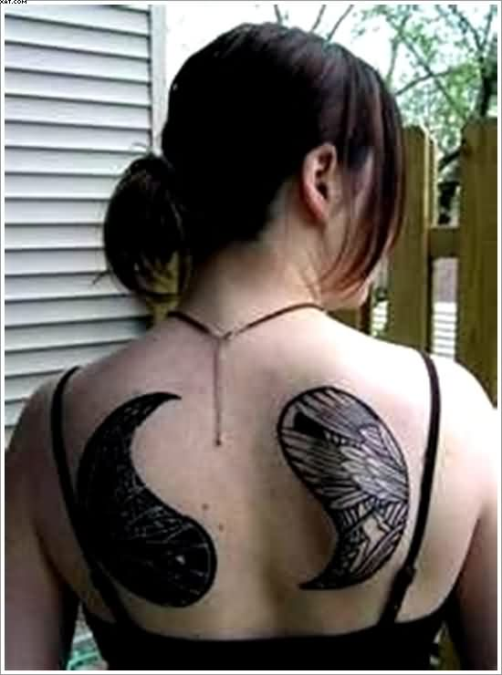 Fantastic Yin Yang Tattoos On Back For Girls Like Wing Tattoo