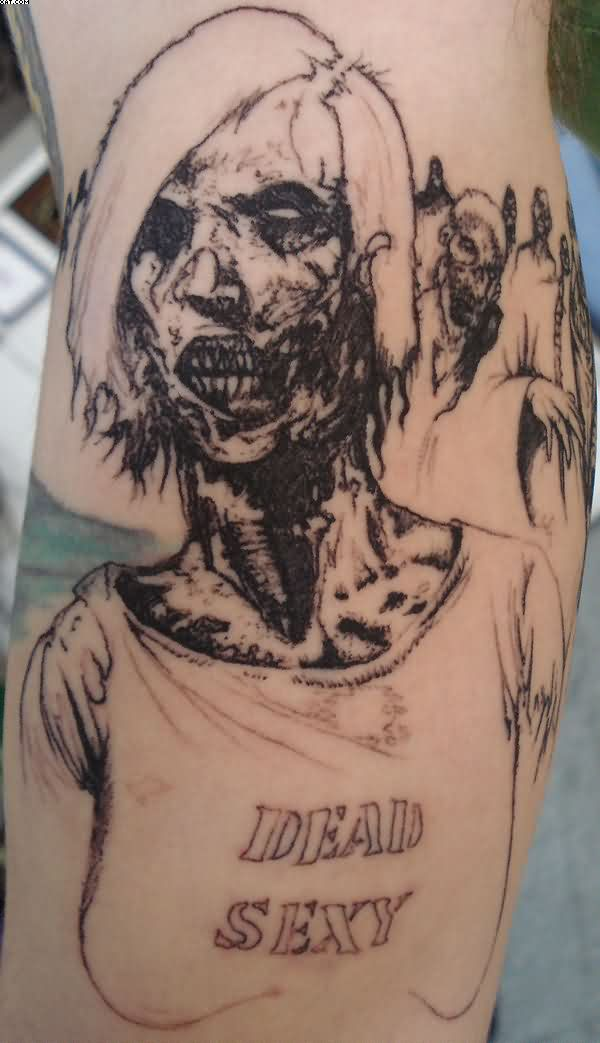 Fantastic Zombie Girl Tattoo Art With Black Ink