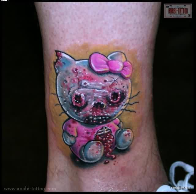 Fantastic Zombie Kitty Tattoo On Ankle