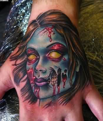 Fantastic Zombie Lady Head Tattoo On Hand
