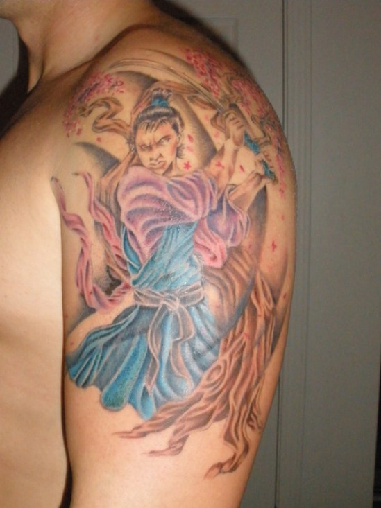 Fantastic Blue Red Color Ink Asian Lady Warrior Tattoo On Biceps For Boys