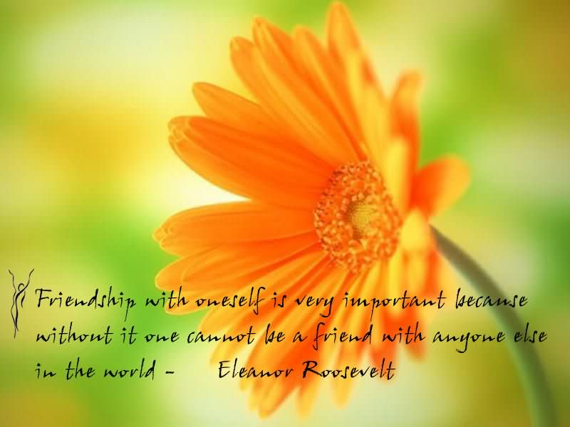 Friends Quotes Friendship with oneself is very important because without it one cannot be a friend with anyone else in the world Eleanor Roosevelt