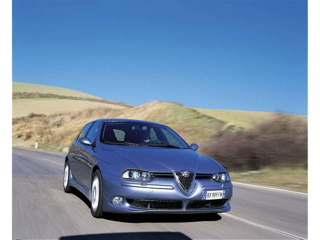 Front side view of silver Alfa Romeo 156 GTA Car on the road