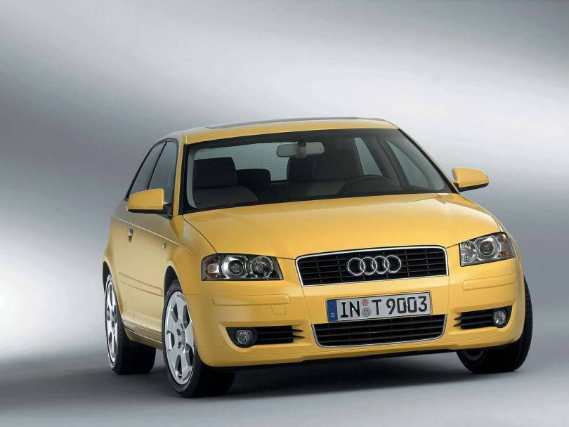 Front side view of yellow beautiful Audi A3 car