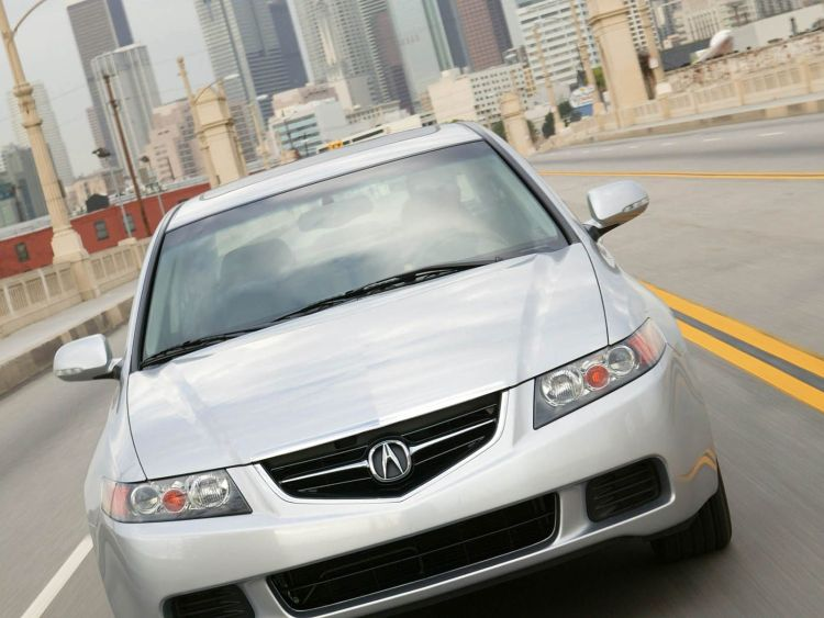Front view on the road of awesome Acura TSX car