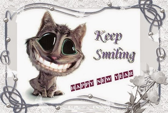 Funny Cat Wishes Keep Smiling Happy New Year Image