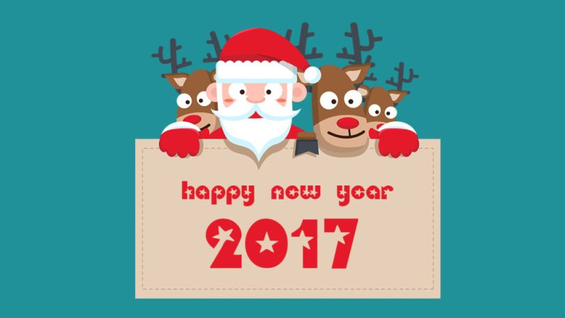 Funny Santa Wishes Happy New Year 2017 Image