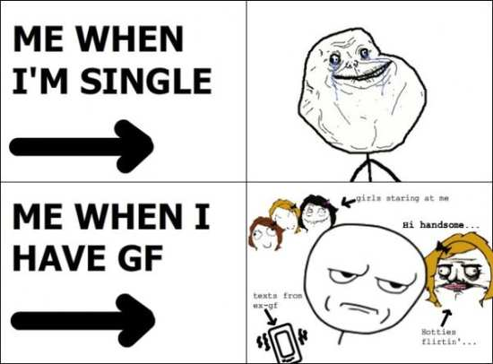 Funny Single Meme Me when i'm single me when i have GF