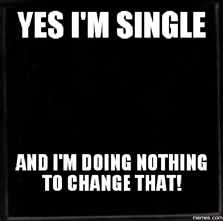 Funny Single Meme Yes i'm single and i'm doing nothing to change that!