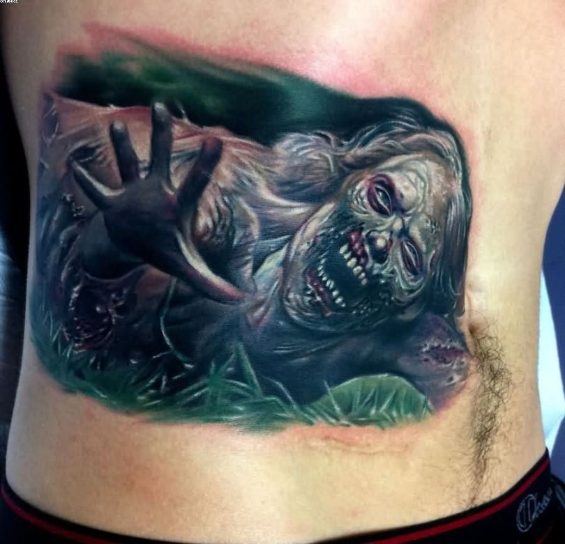 Ghost Dead Zombie Girl Tattoo On Side Back On Side