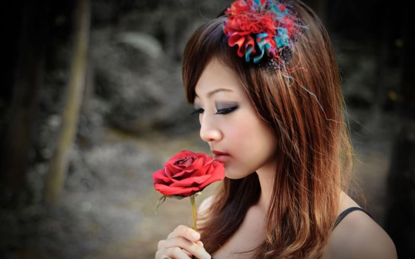 Girl With Red Rose Greeting Image
