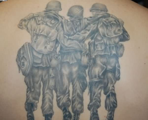 Gorgeous Black Color Ink Army Guys Tattoo Design On Arm For Boys
