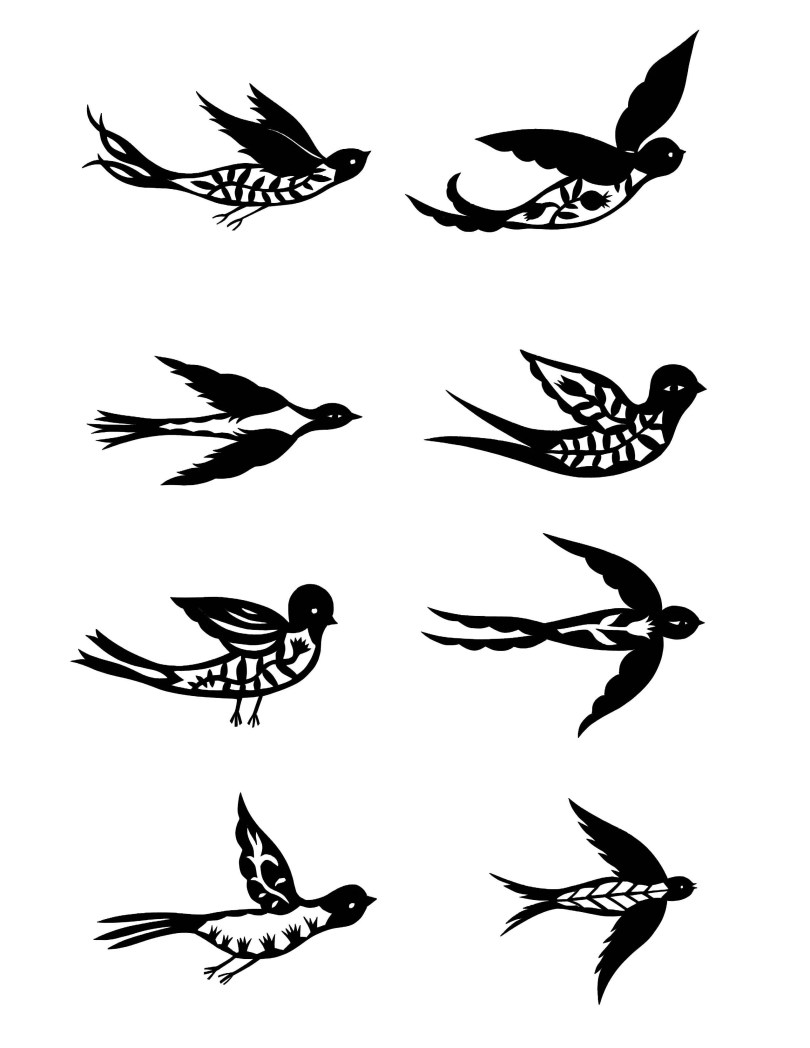 Great Black Color Ink Birds Tattoo Design For Girls
