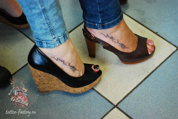 Great Black Color Ink Matching Couple Tattoo Design On Feet For Girls