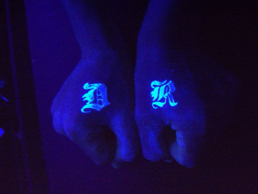 Great Blue Color Blacklight Hand Tattoo  Design For Boys