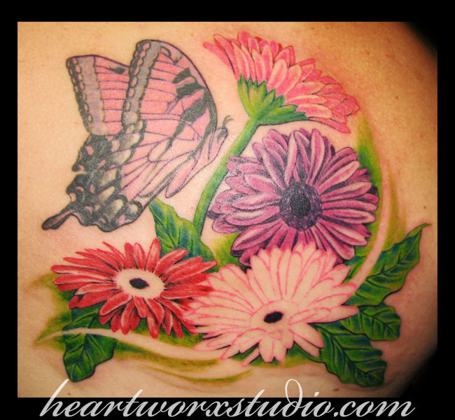 Great Blue Green Red And Black Color Ink Gerbera Daisy n Butterfly Tattoo Image For Girls