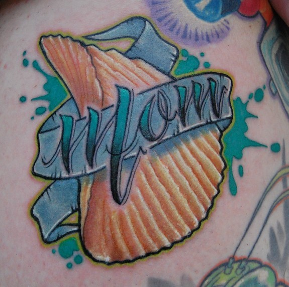 Great Blue Red And Black Color Ink Mofos Chip Tattoo For Boys