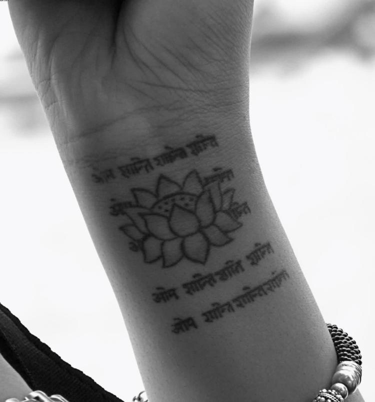 Great Old Language Sanskrit Quotes And Lotus Tattoo On Wrist