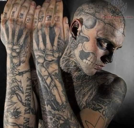 Great Rick Genest Zombie Tattoos