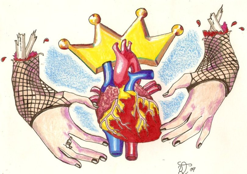 Great Yellow Blue Red And Black Color Ink Zombie Claddagh Ring Tattoo Design For Girls