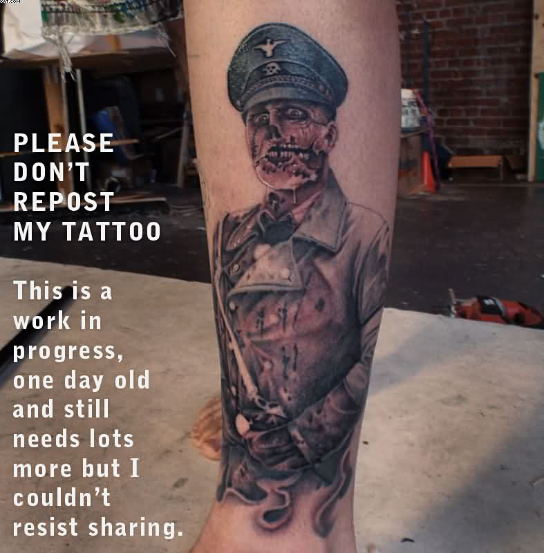 Great Zombie Captain Tattoo On Leg Un Complete