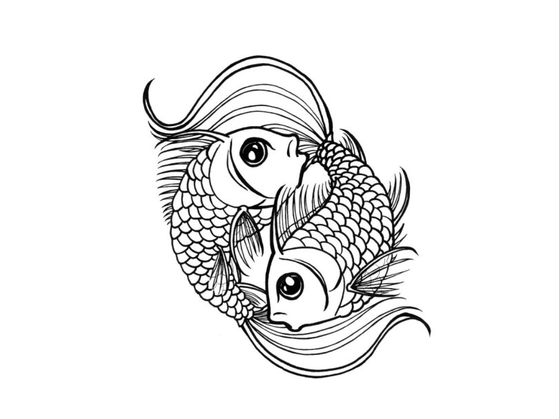Groovy Black Color Ink Fishes Are Swimming In Circle Tattoo Design For Girls