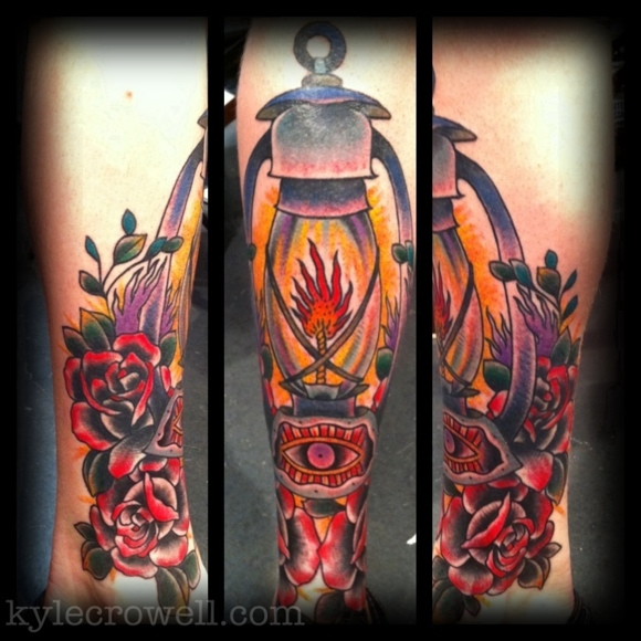 Groovy Yellow Blue Black And Red Color Ink Candle Lamp With Red Rose Tattoo Design For Arm For Boys