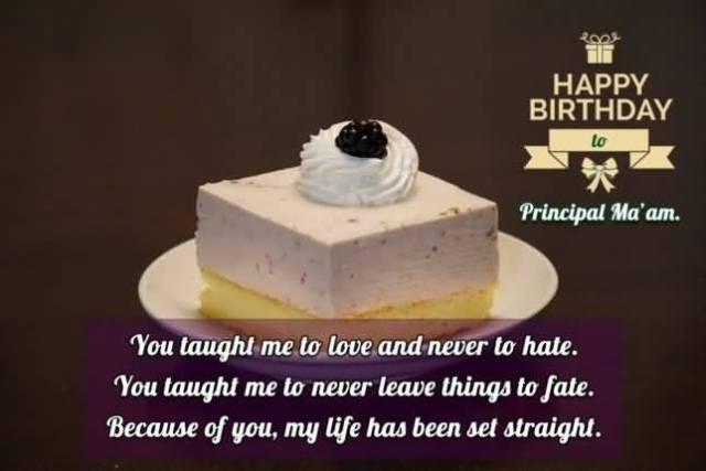 Happy Birthday Principal Ma'am With Cake Greeting Image