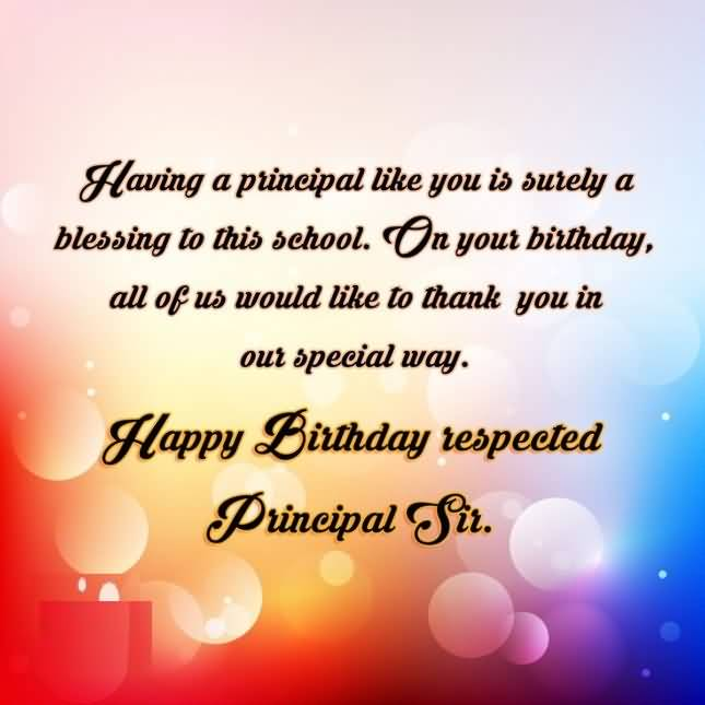 Happy Birthday Respected Principal Sir Greeting Quotes Image