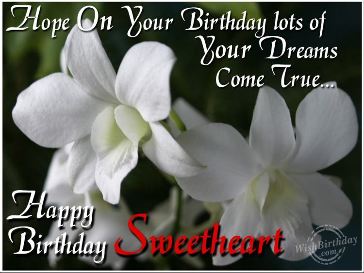 Happy Birthday Sweetheart Greeting Quotes Image