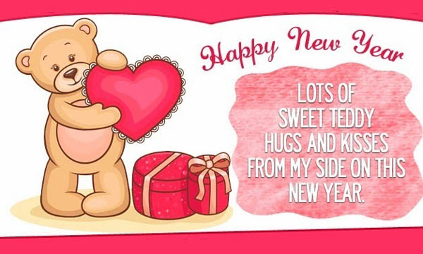 Happy New Year Lots Of Sweet Teddy Hugs Kisses Wishes Image