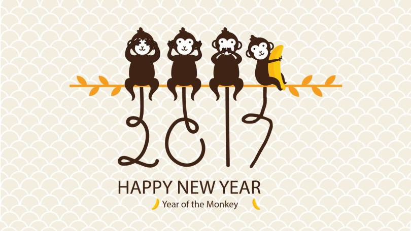 Happy New Year Of The Monkey Wishing Image