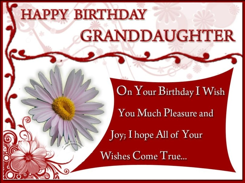 Happy birthday granddaughter on your birthdy i wish you much pleasure and joy