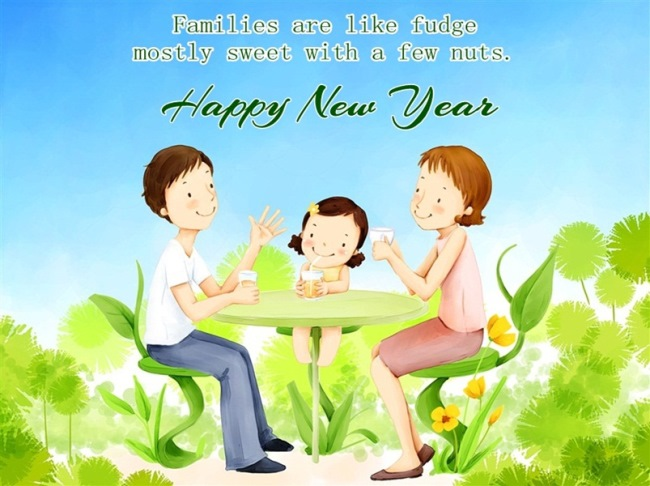 Happy New Year My Sweet Family Wishes Image