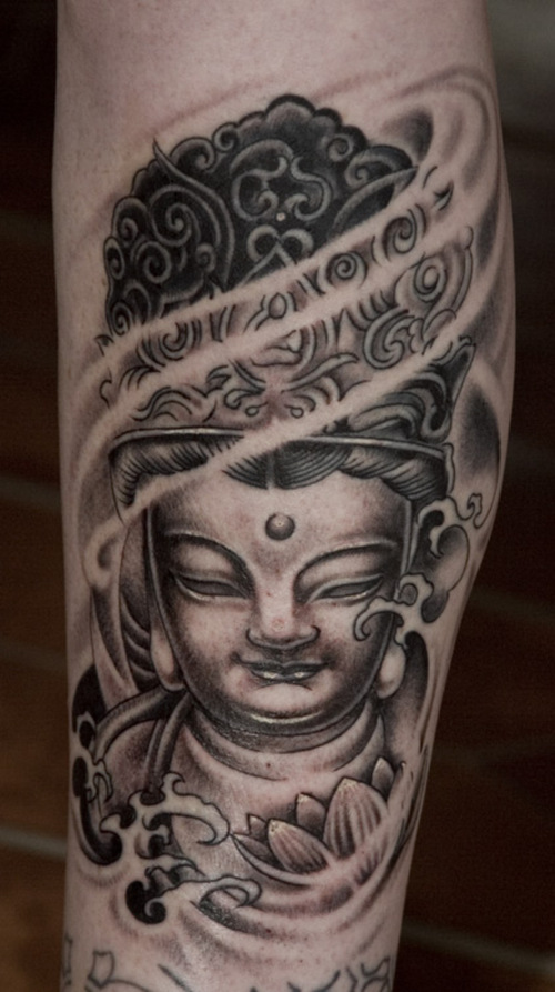 Horrible Black Color Ink Asian Lord Buddha Tattoo Design On Arm For Boys