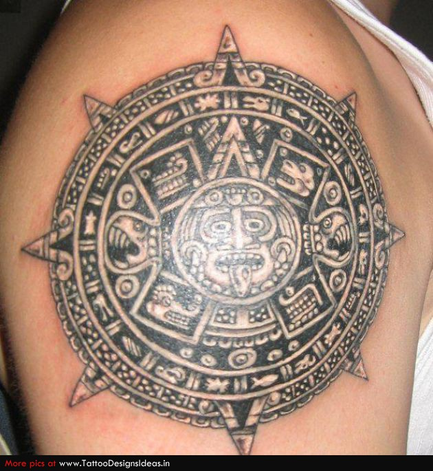 Horrible Black Color Ink Aztec Calendar Tattoo On Shoulder For Boys