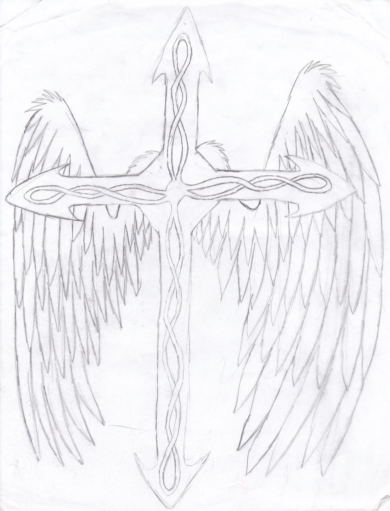Horrible Black Color Ink Winged Cross Tattoo Drawing For Girls