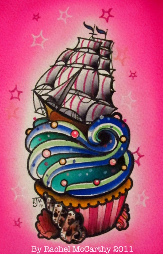 Horrible Blue Green And Black And Red Color Ink Tumblr Cake Tattoo Design For Girls Tattoo