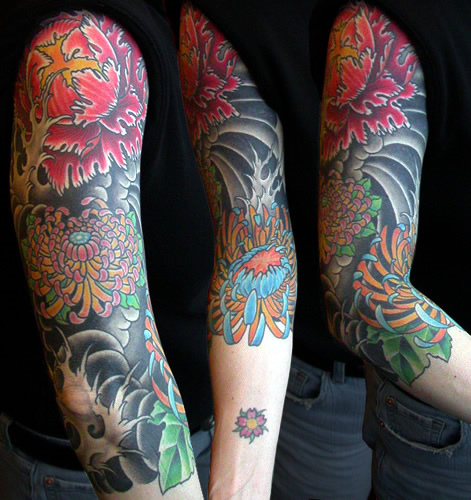 Horrible Blue Red And Black Color Ink Chrysanthemum Tattoo Design For Arm For Boys