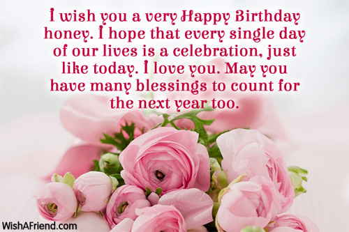 I Wish You A Very Happy Birthday Honey Greeting Quotes Image