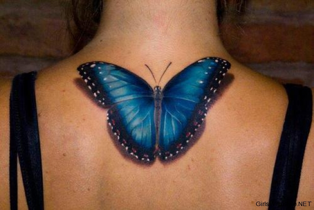 Impressive Blue And Black Color Ink 3D Butterfly Tattoo On Upper Back For Women