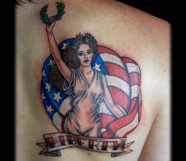 Impressive Blue White Black And Red Color Ink America Symbol Country Tattoo For Girls