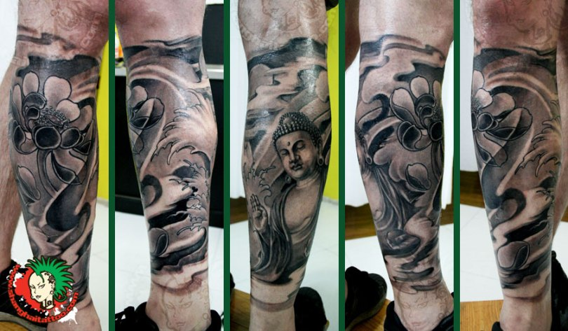 Incredible Black Color Ink Buddha Leg Sleeve Tattoo Design On Leg For Boys