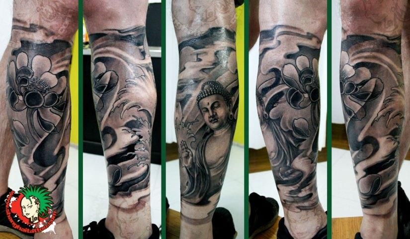 Incredible Black Color Ink Buddha Leg Sleeve Tattoo Design On Leg For Boys