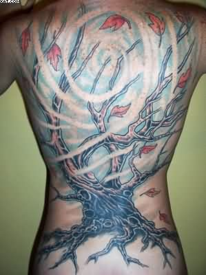 Incredible Black White And Red Color Ink Underwater Tree Aqua Tattoo For Boys