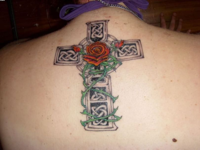 Incredible Celtic Cross Tattoo Of Cross On Upper Back For Women