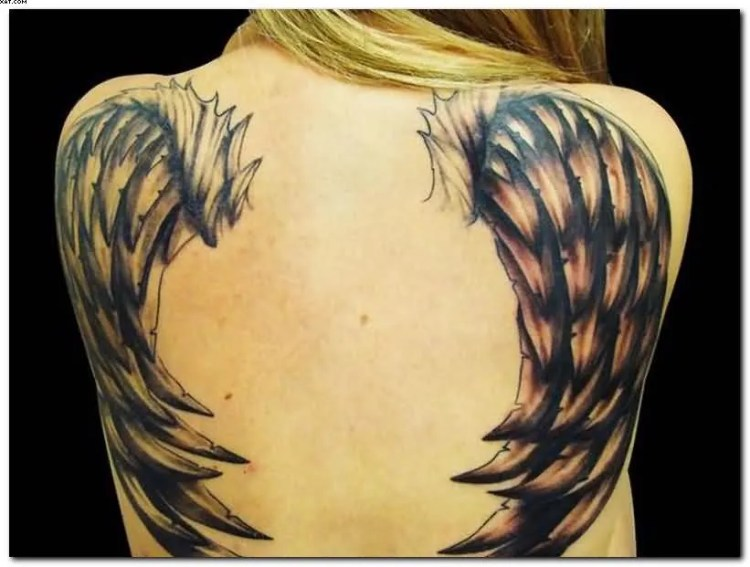 Incredible Wing Tattoo With Black Ink On Back